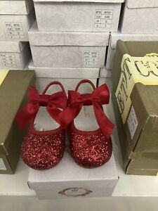 Couche Tot Girls Spanish Style Mary Jane Wedding/party Shoes Red Glitter UK 8
