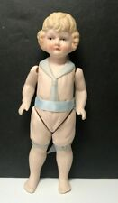 """Vintage Bisque Doll, 6 3/4"""" Tall BSCO Boy Doll Painted Face & Clothes GC"""
