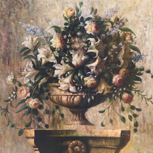 "40W""x40H"" LILY SONATA by WELBY - ARRANGEMENT STILL LIFE VASE FLORAL CANVAS"