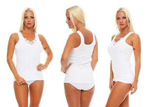 2, 4, 6 oder 10 Damen Unterhemden Vollachsel 100% Baumwolle Größe 36/38 - 60/62