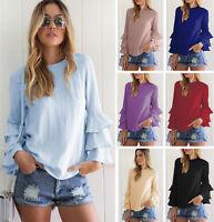 Women's Girls Long Sleeve Chiffon T-Shirt Blouse Summer Tops Clothes Plus Size