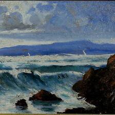 Andrea Borella Olio cm. 20 x 10 Mareggiata Costa Livorno
