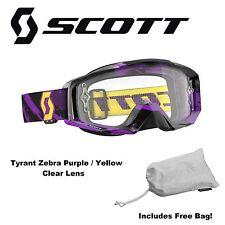 Scott Tyrant 2016 Goggle Zebra Purple Yellow Clear Lens MTB BMX Dirt Downhill