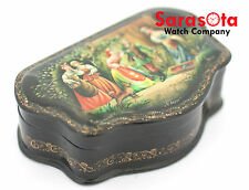 Russian Lacquer Hand Painted Wooden Small Trinket Jewelry Box Artist Signed