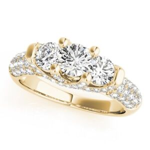 1.86 Ct Round Cut Diamond Women Wedding Ring 14K Solid Yellow Gold Size 6 7.5 8