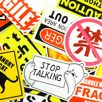 50 Schild Wanung Gelbe Stickerbomb Aufkleber Sticker Mix Decals Phone Auto