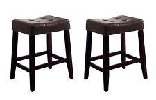 "New Faux Leather 2 Set 24"" Wood Saddle Bar Stools Counter Height Barstool Stool"