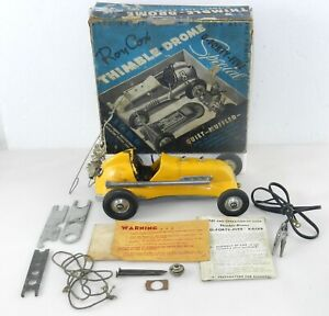 Roy Cox S-45 THIMBLE DROME O-FORTY-FIVE 1950's TETHER CAR Yellow w/ OB ~ F23