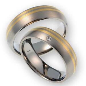 Trauringe Eheringe aus 585 Gold Gelbgold/Titan mit Service & Gravur AST057.02