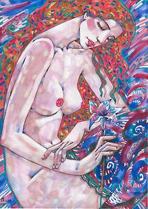 original painting A3 144RM art samovar modern female nude watercolor Signed