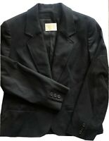 Vintage Pendleton Women's Black 100% Virgin Wool Button Blazer Size 8 Jacket USA