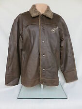 Men's Brown Leather Guitar Jacket Size XL Embroidered Left Chest Logo