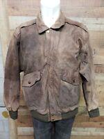 M.Julian Adventures 917688 Airborne Bomber Leather Vintage Jacket Mens Size 42