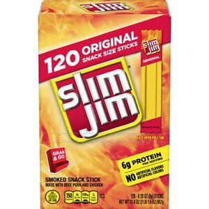 Slim Jim Original Gravity Feed Box 120 ct. Smoked Snack Meat Stick GREAT DEAL!!