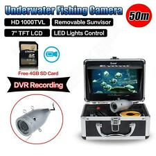 "7"" LCD 50M Underwater Fishing Camera DVR Recording Fish finder+Lights Control 4G"