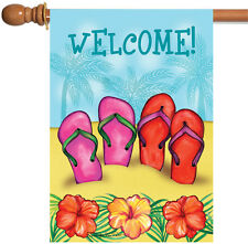 Toland Sandy Sandals 28 x 40 Colorful Summer Welcome Beach Flower House Flag