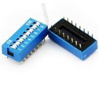 10Pcs 2.54MM Blue Pitch 8-Bit 8 Positions Ways Slide Type Dip Switch US Stock o