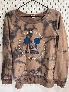 Vintage Mickey Mouse Womens Large Tye Dye Sweatshirt Brown /black