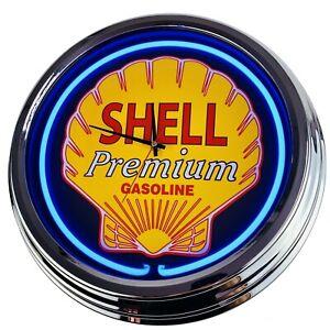 """N-0210 Horloge Murale """" Shell """" Déco Néon Salle à Manger Cuisine Salon Bureau"""