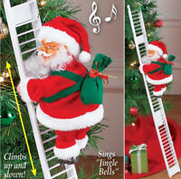 Electric Climbing Ladder Santa Claus Gift Music Xmas Tree Doll Ornament Kid Toy