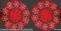 "2PCS 13"" ROUND Christmas RED GOLD Embroidered Poinsettia Doily Placemats #3585"