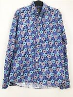 Gresham Blake Pink Purple Blue Floral Long Sleeve Shirt Collar Size 15""