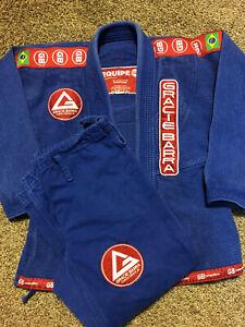 Gracie Equipe Blue Gi Kimono MMA Jiu Jitsu Top And Pants Suit Size M-3