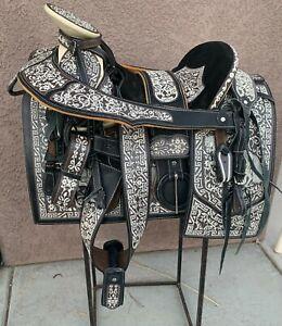 "15"" MEXICAN CHARRO SADDLE MONTURA CHARRA BORDADA HORSE CHARRO GEAR"