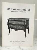 Catalogue Di Vendita Articolo Arte E Tappezzeria Sala N°1 20 Ottobre 1972