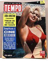 TEMPO - ANNO XX N.23 - 3 GIUGNO 1958 - rivista, jayne mansfield, linda christian