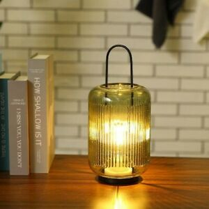 Battery Powered Amber-Green Table Lamp Cordless with Handle LED Lantern 6H Timer
