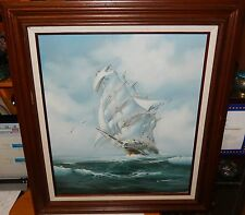 C.MILLION SAILING SHIP LARGE ORIGINAL OIL ON CANVAS SEASCAPE PAINTING