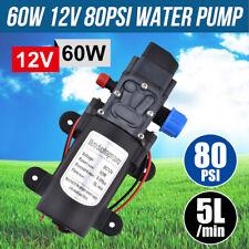 Water Pump 60W 12V 80PSI Self-Priming 5L/Min High Pressure Caravan Camping Boat