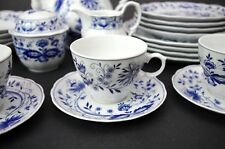(4) Vtg Retsch & Co Wunsiedel Blue Onion Cups & Saucers Bavaria Porcelain