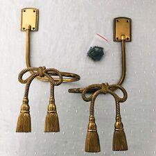 Pair Vtg Brass Curtain Tie Backs Bow Tassel Drape Pull Tiebacks w/ Hardware