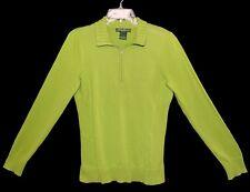 Sz L Women's EDDIE BAUER Long Sleeve Knit Pullover Top Zipper Neck Cotton Green