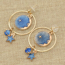 Circle Star Moon Pendant Earrings Ear Stud Drop Dangle Women Alloy Jewelry Gift