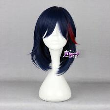 Dark Blue Mixed Red Short Hair for KILL la KILL Matoi Ryuko Anime Cosplay Wig