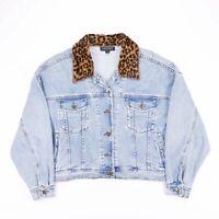 Vintage KAREN KANE Cropped Custom Animal Blue Denim Jacket Womens Size Medium