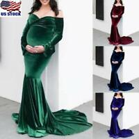 Pregnant Women Velvet Long Maxi Dress Photography Props Maternity Gown Dress US