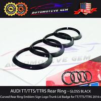 AUDI TTRS TTS TT Trunk Emblem Curve Ring GLOSS BLACK Rear Hatch Logo Badge 2016+