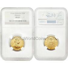 Germany 1914 Prussia - Jubilee Bust 20 Mark Gold NGC MS63