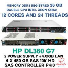 HP DL360 G7 2X X5650 12CORES/24 TRHEADS 36GB DDR3 4X 450GB SAS 10K SERVER