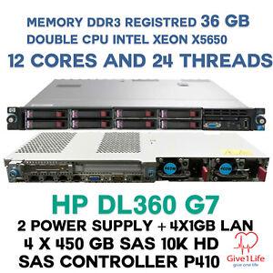 HP DL360 G7 2X X5650 12 CORES/24 THREADS 36GB DDR3 4X 450GB SAS 10K SERVER