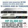 HP DL360 G7 2X X5650 12CORES/24 TRHEADS 36GB DDR3 4X 450GB SAS 10K SERVER