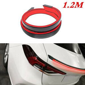1.2M 12V Car Rear Wing Lip Spoiler LED Tail Trunk Roof Trim Sticker PolyUrethane