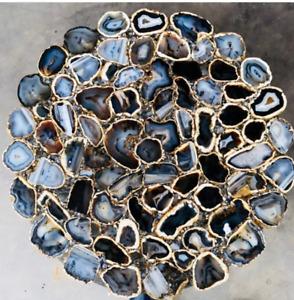 "36"" Black Agate Table Top Natural stones pietradura Handmade Work Decor"