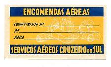 Vintage Airline Luggage Label SERVICOS AEREOS CRUZEIRO DO SUL yellow Name Tag