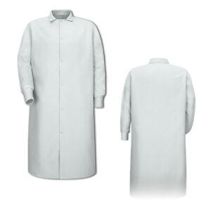 Red Kap Gripper-Front Spun Polyester Pocketless Butcher Coat with Knit Cuffs