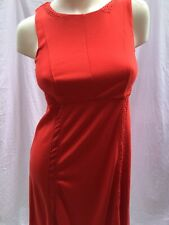 A PEA IN THE POD Tomato Red Maternity Sleeveless Dress M w Cut Outs CONDITION A+